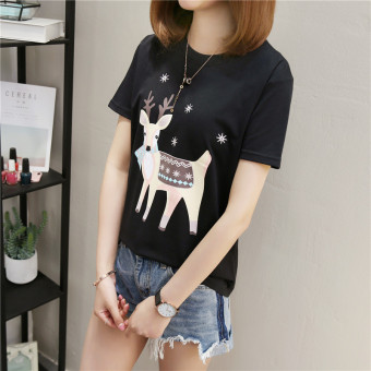 Women's Korean-style Plus Size Slimming Short Sleeve T-Shirt (386 Titoni deer-black)