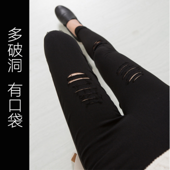 Women's Korean-style Ripped Skinny Pants Color Varies - Thick - Thin (Black multi-with holes with pockets)