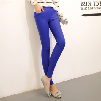 Women's Korean-style Ripped Skinny Pants Color Varies - Thick - Thin (Sapphire blue color no with holes with pockets)
