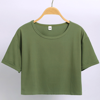 Women's Korean-style Round Neck Short Sleeve Cropped Loose T-Shirt - Candy Color (Grass green color)
