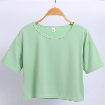 Women's Korean-style Round Neck Short Sleeve Cropped Loose T-Shirt (Light Green)