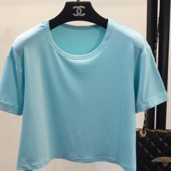 Women's Korean-style Round Neck Short Sleeve Cropped Loose T-Shirt (Water blue)