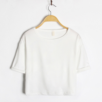 Women's Korean-style Round Neck Short Sleeve Cropped Loose T-Shirt (White)