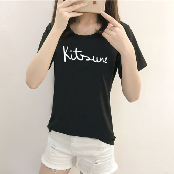 Women's Korean-style Short Sleeve T-Shirt (5094 black)