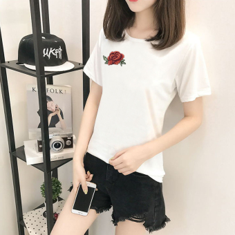 Women's Korean-style Short Sleeve T-Shirt (5156 white)