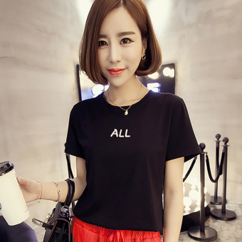 Women's Korean-style Simple Short Sleeve T-Shirt (Black [1008 models])