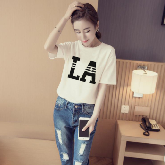 Women's Korean-style Simple Short Sleeve T-Shirt (White [864LA models])