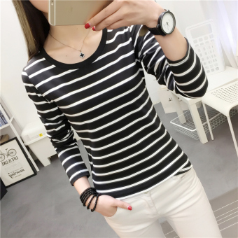 Women's Korean-style Slim Fit Letter Embroidered Round Neck Long Sleeve T-Shirt (925 * Black)