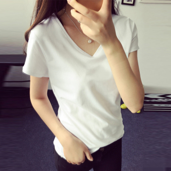 Women's Korean-style Slim Fit V-Neck Short Sleeve Solid Color T-Shirt (8002 white)