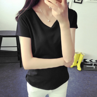 Women's Korean-style Slim Fit V-Neck Short Sleeve Solid Color T-Shirt (Black)