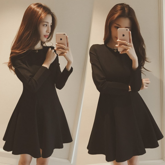 Women's Korean-style Slimming Plus Size Dress - Black
