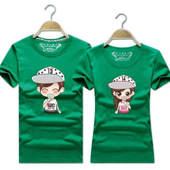 Women's Korean-style Slimming Print Round Neck Short Sleeve Solid Color T-Shirt (Green)