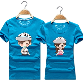 Women's Korean-style Slimming Print Round Neck Short Sleeve Solid Color T-Shirt (Light blue)