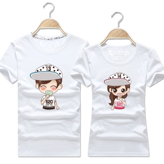 Women's Korean-style Slimming Print Round Neck Short Sleeve Solid Color T-Shirt (White)