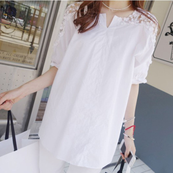 Women's Korean-style Slimming V-Neck Lace Splice Short Sleeve T-Shirt (White)