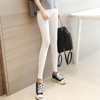Women's Korean-style Stylish High Waist Skinny Full Length Pants - Black - White - Grey (White)