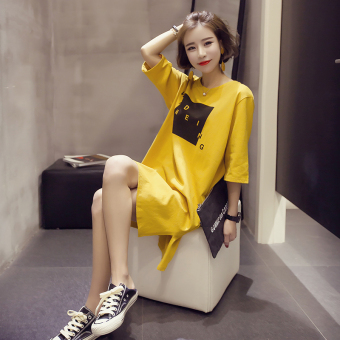 Women's Korean-style Stylish Short Sleeve Mid Length T-Shirt (823 (yellow))