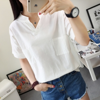 Women's Korean-style V-Neck Cotton Short Sleeve Loose T-Shirt (6616 cotton linen V-neck white)