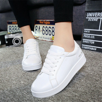 Women's Lace-up Shoes Flat Shoes Sneaker (White)(EU:35) intl