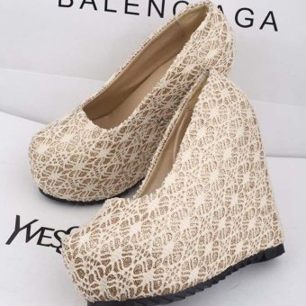Women's Lady's Sexy Wedding Shoes Very High Heels Wedge Lace Elegant Platform Pumps European Color White - intl - 5