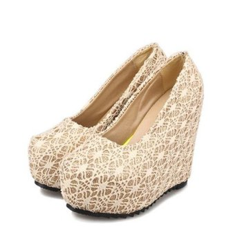 Women's Lady's Sexy Wedding Shoes Very High Heels Wedge Lace Elegant Platform Pumps European Color White - intl - 2