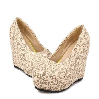 Women's Lady's Sexy Wedding Shoes Very High Heels Wedge Lace Elegant Platform Pumps European Color White - intl - 3