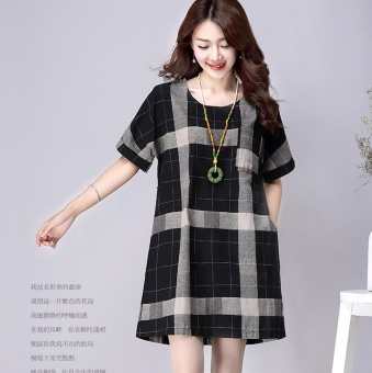 Women's Linen Loose Plaid Dress - Black - Blue (Black)