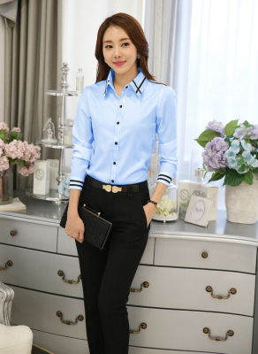 Women's Long Sleeves Blue Blouse with Black Stripes Detail - intl