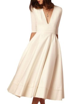 Women's Maxi Long Dress Deep V Neck Half Sleeve Aline Sexy (White) - intl - 5