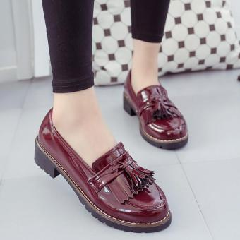 Women's Mid Platform Tassel Patent Leather Shoes Creepers Slip On Wedge Loafers RED - intl