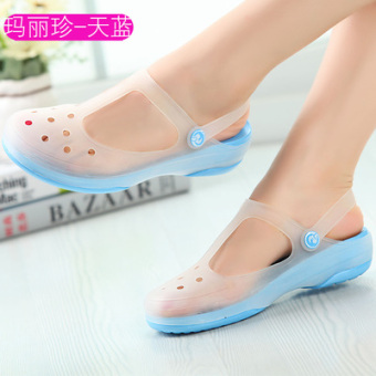 Women's Non Slip Flat Gradient Slipper (Malizhen/sky blue color)