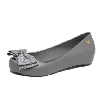 Women's Peep Toe Flat Jelly Shoes (Light gray color)