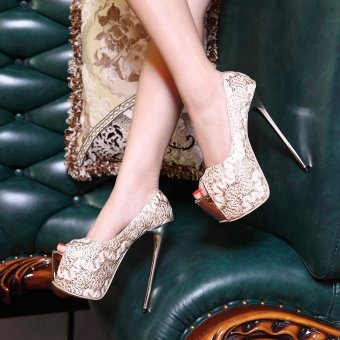 Women's Peep Toe Platform Bridal Pumps Party High Heels with Sequined Gold