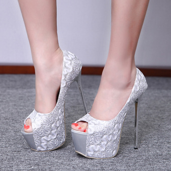 Women's Peep Toe Platform Bridal Pumps Party High Heels with Sequined Silver