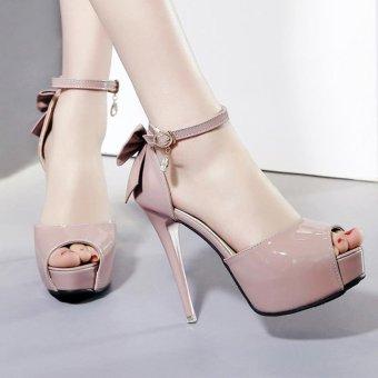 Women's Peep Toe Platform Evening High Heels Korean Sandals with Bow Pink - intl - 3