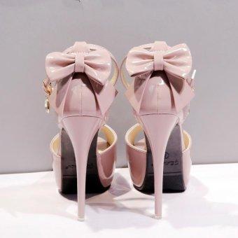 Women's Peep Toe Platform Evening High Heels Korean Sandals with Bow Pink - intl - 5