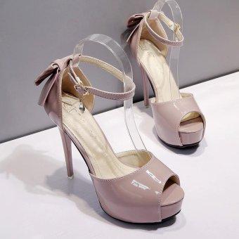 Women's Peep Toe Platform Evening High Heels Korean Sandals with Bow Pink - intl - 4