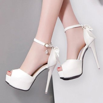 Women's Peep Toe Platform Evening High Heels Korean Sandals with Bow White - intl