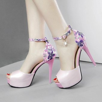 Women's Peep Toe Platform High Heels Elegant Sandals with Flowers Pink - intl