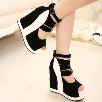 Women's Peep Toe Wedge Sandals European Shoes White - intl - 4