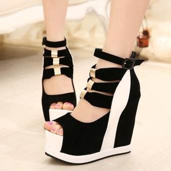 Women's Peep Toe Wedge Sandals European Shoes White - intl