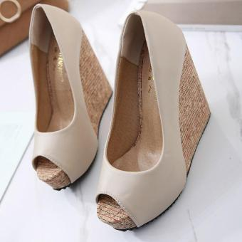 Women's Peep Toe Wedge Shoes Leisure Party High Heels Apricot - intl - 2