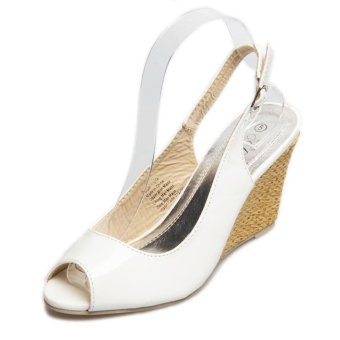 Women's Peep Toe Wedge Sling Back Shoes Japanese Party Sandals White - intl - 3