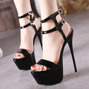 Women's Platform Ankle Strap Heels Japanese Party Sandals Black - intl