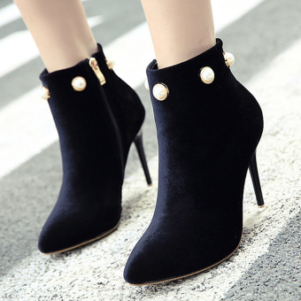 Women's Pointed Toe Stiletto Ankle Boots London Party High Heels with Rhinestone Black - intl Price Philippines