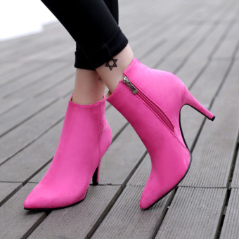Women's Pointed Toe Stiletto Ankle Boots London Shoes Hotpink Price Philippines