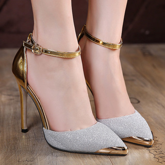 Women's Pointed Toe Stiletto Pumps Korean Shoes Silver - intl
