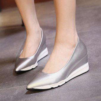 Women's Pointed Toe Wedge Shoes Casual Loafers Silver - intl