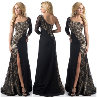 Women's Prom Gown Sexy One Shoulder Lace Long Sleeve Mermaid Slit Maxi Dress (Black) - intl - 2
