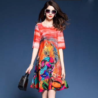 Women's Retro Large Size Print Midi Dress